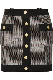 Pierre Balmain Cotton-blend tweed mini skirt