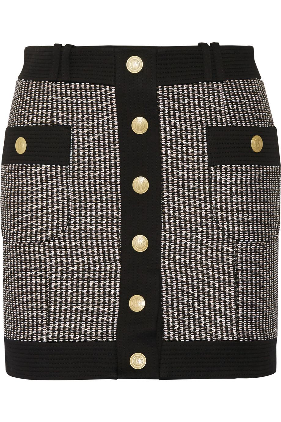Pierre Balmain Cotton-Blend Tweed Mini Skirt, Black, Women's, Size: 38