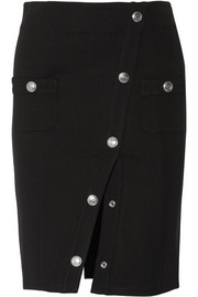 Button-detailed stretch-ponte pencil skirt