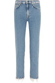 Distressed mid-rise slim boyfriend jeans