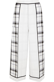Odette checked crepe wide-leg pants