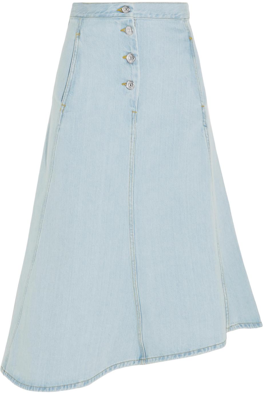 Acne Studios Kady Asymmetric Denim Midi Skirt, Light Denim, Women's, Size: 38