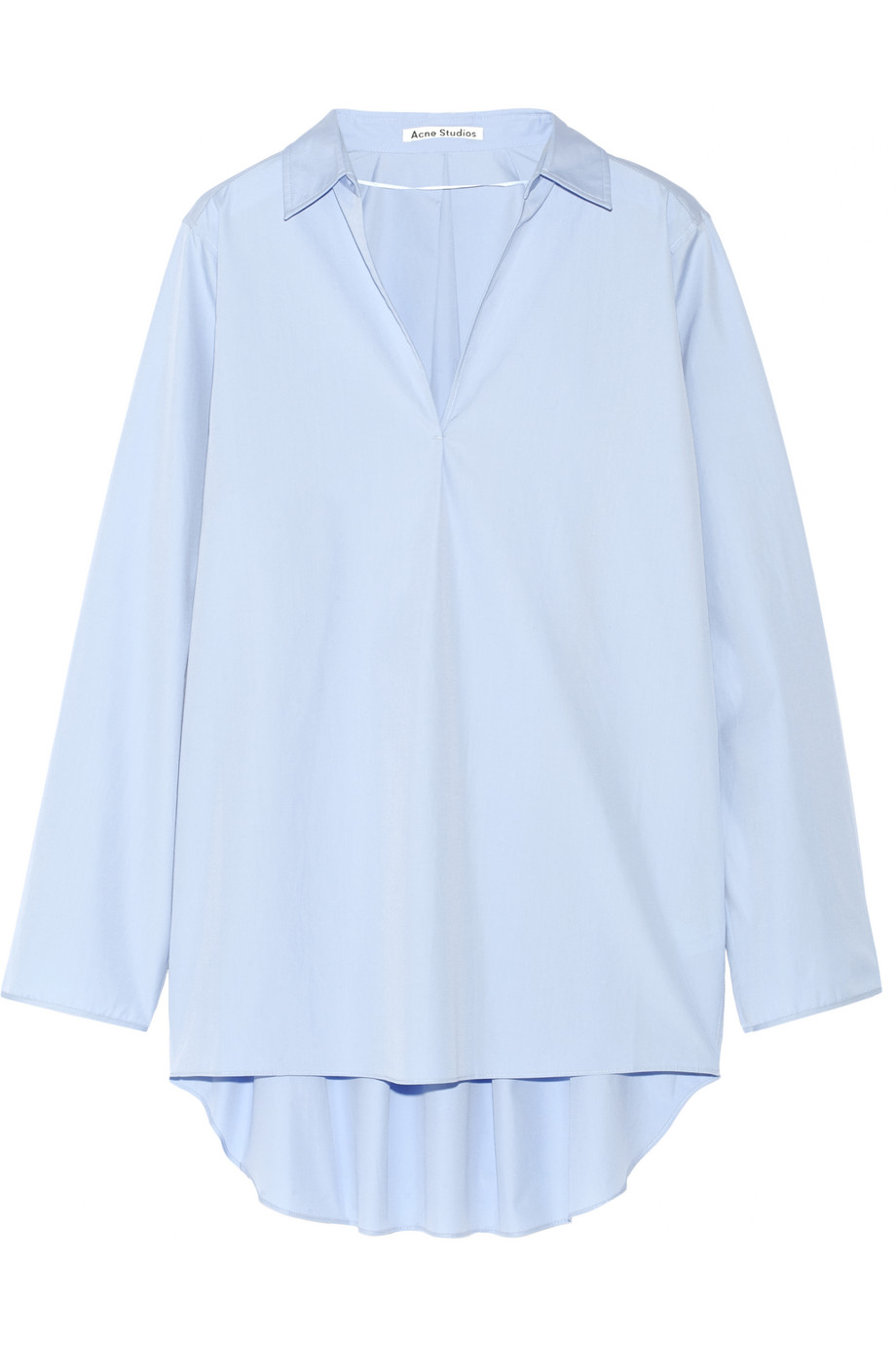 Acne Studios Lain Oversized Cotton-Poplin Top, Sky Blue, Women's, Size: 32