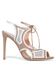 Nicholas Kirkwood Cutout patent leather-trimmed textured-lamé sandals