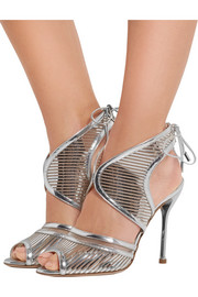 Nicholas Kirkwood Mirrored-leather and mesh sandals