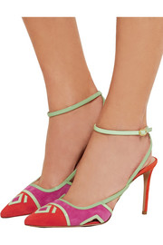 Nicholas Kirkwood Patent leather-trimmed suede pumps