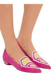 Nicholas Kirkwood Leia patent leather-trimmed suede point-toe flats