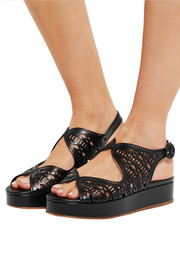 Nicholas Kirkwood Laser-cut leather platform sandals