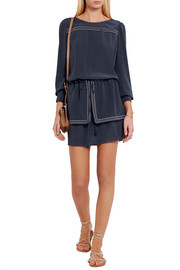 See by Chloé Drop-waist silk crepe de chine mini dress