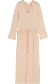 See by Chloé Ruffle-trimmed plissé-georgette maxi dress
