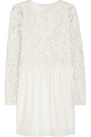 Macramé lace and cotton-poplin mini dress
