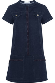 Embroidered stretch-denim mini dress