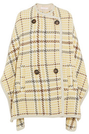 Checked wool-blend cape