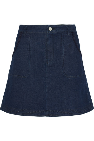 See by Chloé - Embroidered Denim Mini Skirt - Dark denim