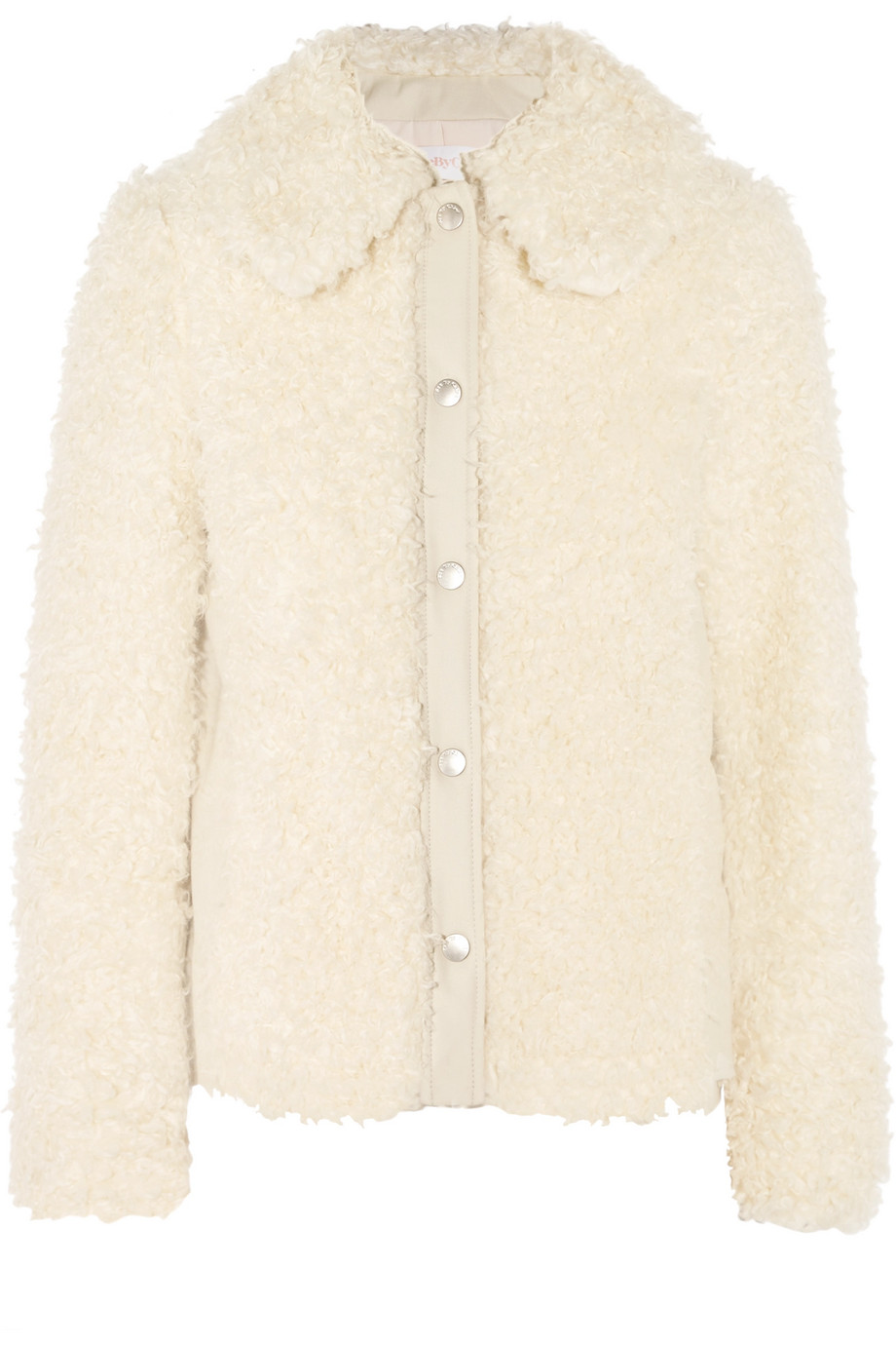 See by Chloé Faux Shearling Jacket, Cream, Women's, Size: 38