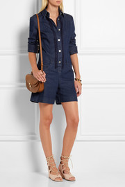 See by Chloé Embroidered denim playsuit
