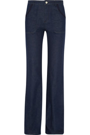 Embroidered high-rise flared jeans