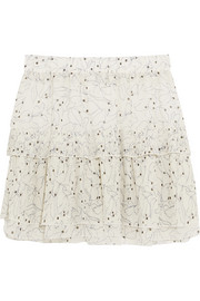 Ruffled printed chiffon mini skirt