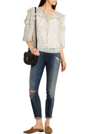 See by Chloé Ruffled printed chiffon blouse