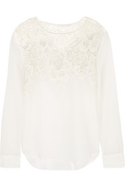 Crochet-paneled cotton-voile blouse