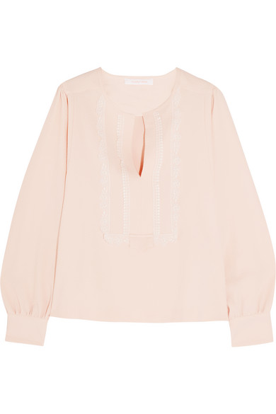 See by Chloé - Embroidered Crepe Blouse - Pastel pink