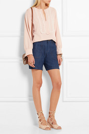See by Chloé Embroidered crepe blouse