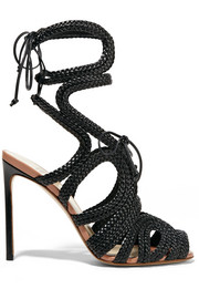 Braided patent-leather sandals