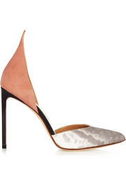 D'Orsay suede and snake pumps