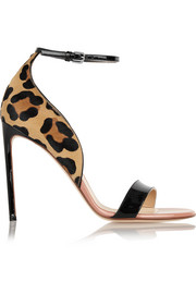 Francesco Russo Leopard-print calf hair and patent-leather sandals