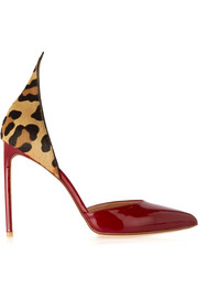D'Orsay leopard-print calf hair and patent-leather pumps