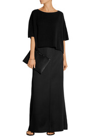 Wrap-effect satin-twill maxi skirt