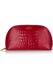 Croc-effect leather cosmetics case