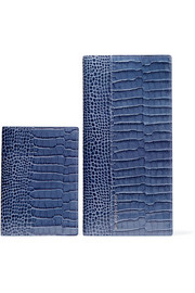 Smythson Croc-effect glossed-leather travel wallet and passport cover