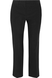Cropped wool-blend straight-leg pants