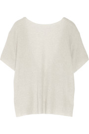 Open-back ribbed cashmere and linen-blend sweater