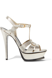 Saint Laurent Tribute metallic textured-leather platform sandals