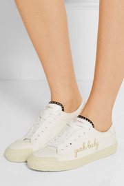 Saint Laurent Yeah Baby leather-trimmed embroidered canvas sneakers