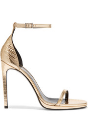 Jane metallic lizard-effect leather sandals