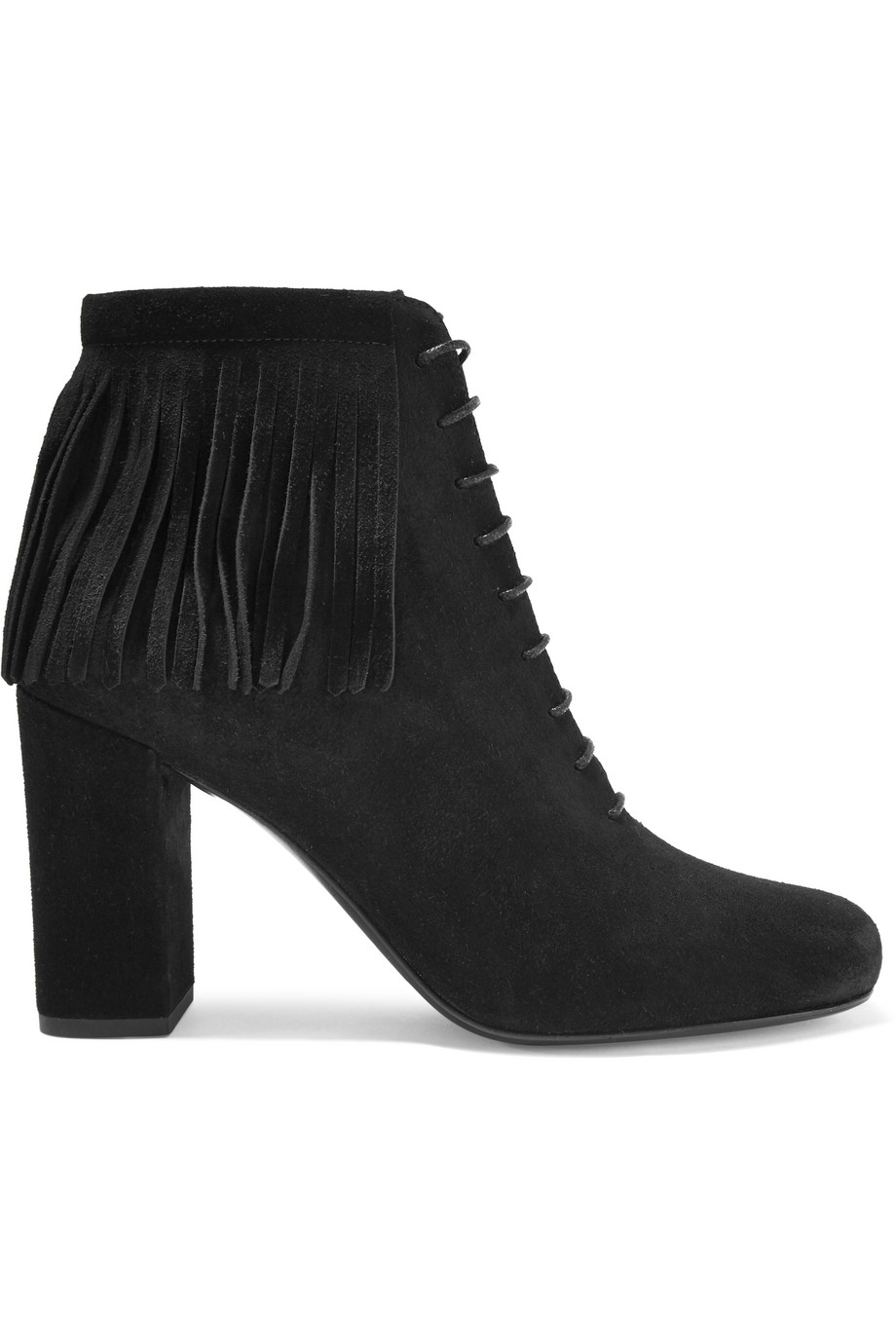 Saint Laurent Babies Fringed Suede Boots, Black, Women's US Size: 6, Size: 36.5