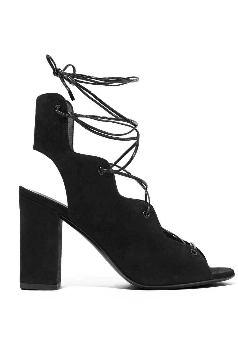 Saint Laurent Babies Lace-Up Suede Sandals, Black, Women's US Size: 9.5, Size: 40