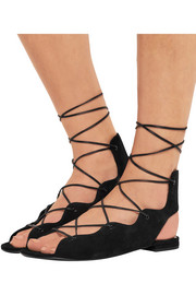Saint Laurent Lace-up suede sandals
