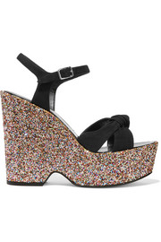Candy glittered suede platform sandals
