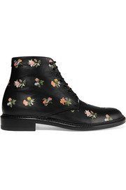 Lolita floral-print leather boots