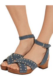 Studded denim sandals