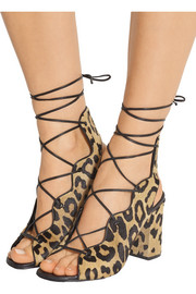 Saint Laurent Leopard-print calf hair lace-up sandals