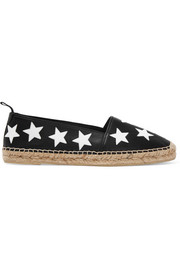 Star-appliquéd leather espadrilles