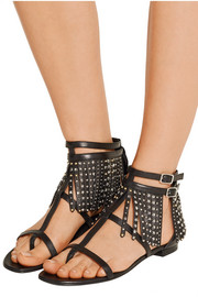 Saint Laurent Studded fringed leather sandals