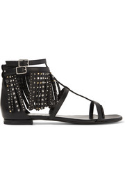 Studded fringed leather sandals