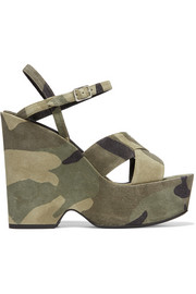 Saint Laurent Camouflage-print distressed suede platform sandals