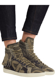 Saint Laurent Fringed distressed suede high-top sneakers